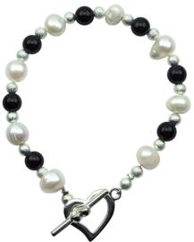 Zoetwater parel armband met edelsteen Pearl Heart Black Agate