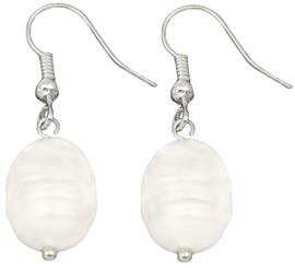 Zoetwater parel oorbellen Dangling Pearl White