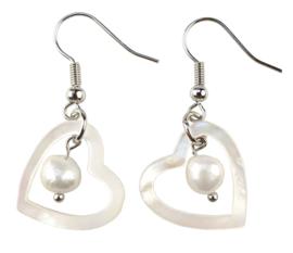 Zoetwater parel en parelmoeren oorbellen Pearl Heart Shell