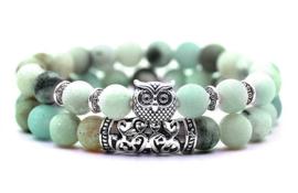 Edelstenen armband Frozen Amazonite Silver Owl