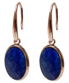 Edelstenen oorbellen Gold Oval Lapis Lazuli