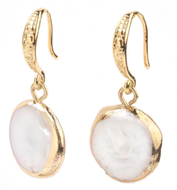 Zoetwater parel oorbellen White Coin Pearl Gold Small