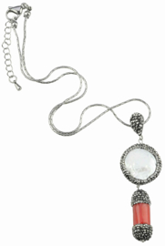 Zoetwater parelketting met koraal Bright Pearl Coral Two