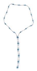 Zoetwater parelketting met edelsteen Wrap Magnetite Blue Pearl