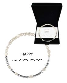Cadeau set zoetwater parel armband Morse Code Happy Pearl Silver