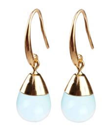edelstenen oorbellen Gold Dip Sea Opal