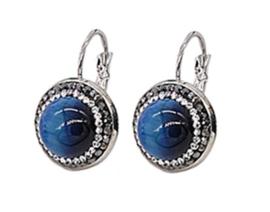 Edelstenen oorbellen Bright Blue Tiger Eye Silver