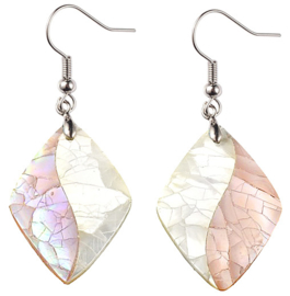 Parelmoeren oorbellen Crackle Rose Shell Rhombus
