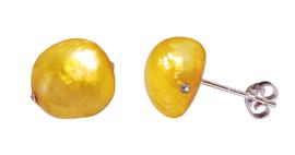 Zoetwater parel oorbellen Little Bling Bold Yellow Pearl