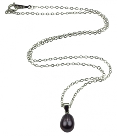 Zoetwater parelketting Single Pearl Black