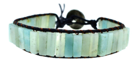 Edelstenen armband Amazonite Black Leather