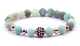 Edelstenen armband Frozen Amazonite Black Ball