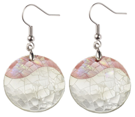 Parelmoeren oorbellen Crackle Rose Shell Round