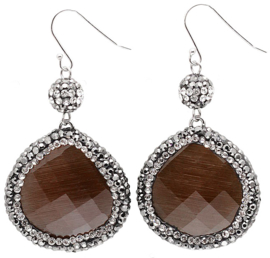 Edelstenen oorbellen Bright Brown Cat's Eye