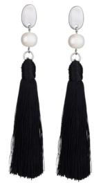 Zoetwater parel oorbellen Pearl Black Tassel