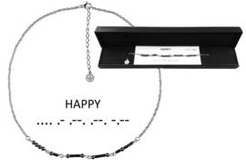 Cadeau set edelstenen ketting Morse Code Happy Black Hematite Silver