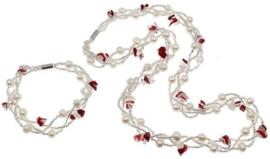 Zoetwaterparel met edelstenen set Twine Pearl Red Agate