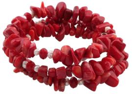 Zoetwater parel armband met koraal Wrap Coral Pearl