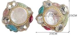 Zoetwater parel oorbellen Baroque Coin Pearl
