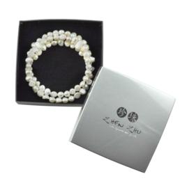 Cadeau set zoetwater parel wikkelarmband Zen White