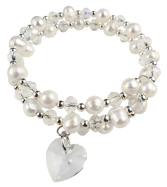 Zoetwater parel wikkelarmband Wrap Pearl Crystal Heart