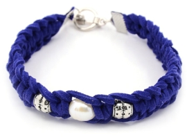 Zoetwater parel armband Pearl Blue Suède