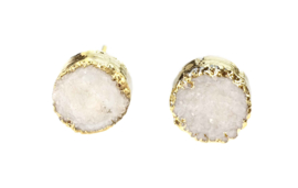 Edelstenen oorbellen Druzy Gold White