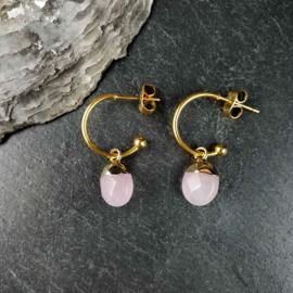 Edelstenen oorbellen Golden Hope 15 mm Rose Quartz