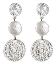 Zoetwater parel oorbellen Double Silver Coin Pearl