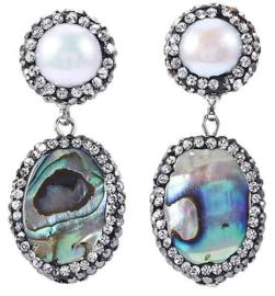 Zoetwater parel oorbellen Bright Pearl Abalone