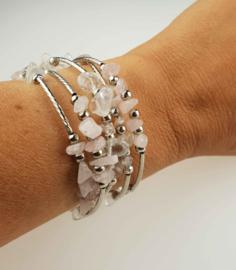 Edelstenen armband Wrap Rose Quartz Chip