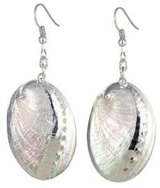 Parelmoeren schelpen oorbellen White Shell Silver