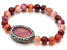 Edelstenen armband Bling Oval Red Striped Agate