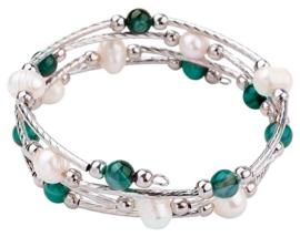 Zoetwater parel wikkelarmband met edelstenen Wrap Pearl Green Striped Agate