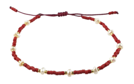 Zoetwater parel armband Mini Pearl Bead Red