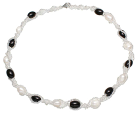 Zoetwater parelketting Twine Pearl Black Glass