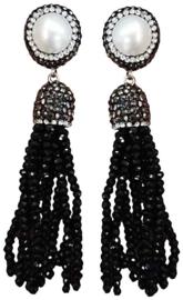 Zoetwater parel oorbellen Bright Pearl Black Crystal Tassel