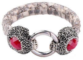 Edelstenen armband Bright Double Red Jade Creme Leather