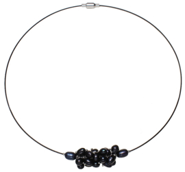 Zoetwater parelketting Black Oval Ball
