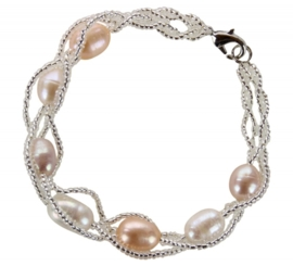 Zoetwater parel armband Twine Pearl Soft Colors