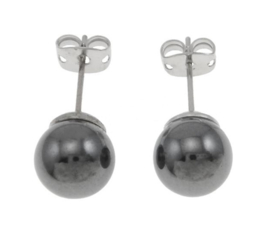 Edelstenen oorbellen Hematite Stud 8 mm