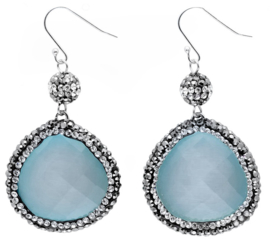 Edelstenen oorbellen Bright Blue Cat's Eye