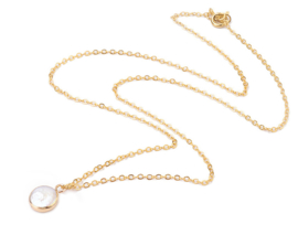 Zoetwaterparel set White Coin Pearl Gold Small