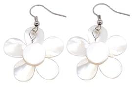 Parelmoeren oorbellen White Shell Flower Black Crystal