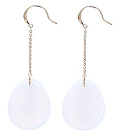 Edelstenen oorbellen Dangling Big Drop Sea Opal