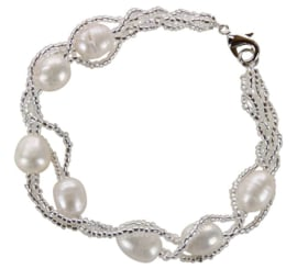 Zoetwater parel armband Twine Pearl White