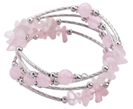 Edelstenen armband Four Loops Wrap Rose Quartz