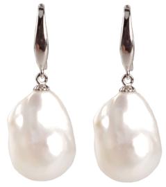 Zoetwater parel oorbellen Silver Fireball Pearl