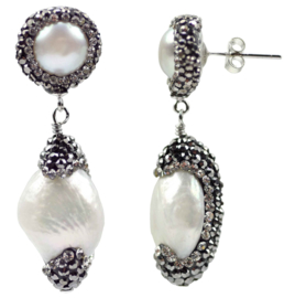 Zoetwater parel oorbellen Double Bling Baroque Pearl