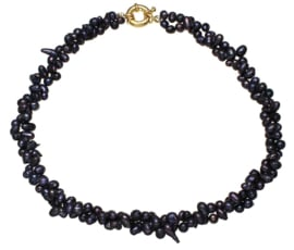 Zoetwater parelketting Black Twist Pearl